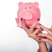Piggybank money concept. Savings and financial concept closeup